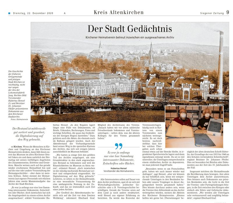 Siegener Zeitung vom 22.12.20202